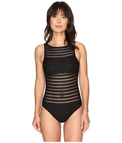 LAUREN RALPH LAUREN Women's Mesh One-Piece Swimsuit (Black, 14)