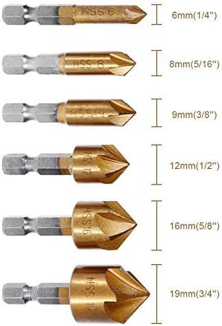 "8mm f/ünfschneidig 6mm 8mm 9mm 12mm 16mm 19mm oder Set ausw/ählen 90/° Kegelsenker mit Bit 1//4/"""