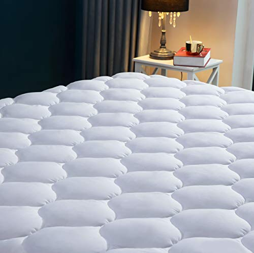 King Size Mattress Protector - SNUZZZZ Quilted Fitted Cooling Mattress Pad | Mattress Cover Breathable, Waterproof, Hypoallergenic - Mattress Topper (King Size)