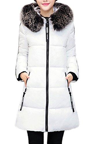 Letra elegante de las mujeres imprimir abrigo abrigos de lana con capucha White