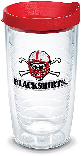Tervis 1060649 Nebraska Cornhuskers Blackshirts Tumbler with Emblem and Red Lid 16oz, Clear ()