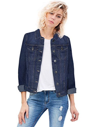 REVOLT Women Junior Classic 4 Pockets Denim Jacket JK175592 Dark Wash L (Dark Denim Jean Jacket)