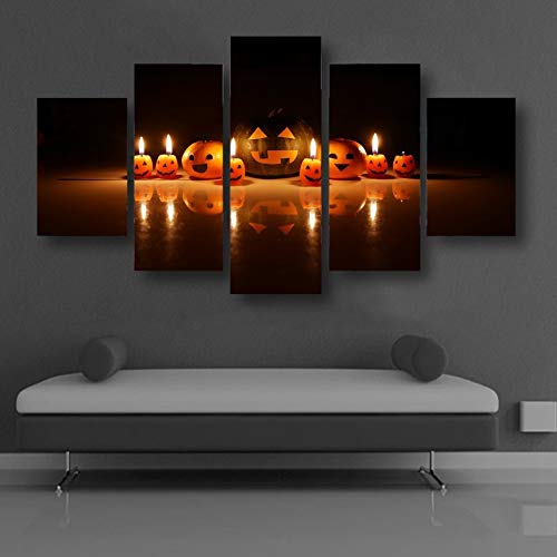 dhkawja Canvas He Decor Framework 5 Pieces Pumpkin Smiley Face Expression Candle Paintings HD Printed Wall Art Pictures Modular Poster-40x60cmx2 40x80cmx2 40x100cmx1 ()