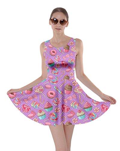 CowCow Womens Lavendar Macaroon Cupcake Donut Skater Dress, Lavendar - M