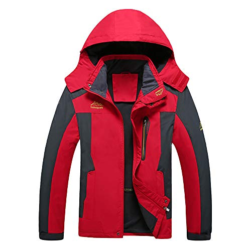 FRAUIT Winterjacke Herren Männer Junge Softshell Funktions Outdoor Jacke wasserabweisend Langarm mit Kapuze Zipper Slim Fit Mantel Trenchcoat Top