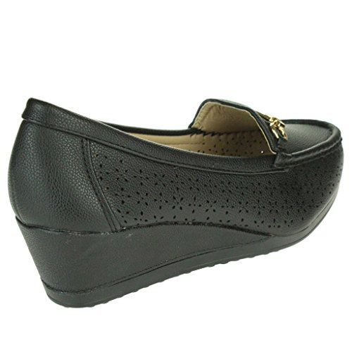 Women Ladies Moccasins Comfort Cushioned Massage Office Work Wedge Heel Sandals Shoes Size Black sw4jVfQwr