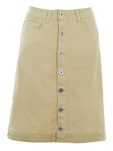 Anna-Kaci Womens Vintage Stretch Denim Jean Button Flare Skirt with Side Pocket, Khaki, Medium