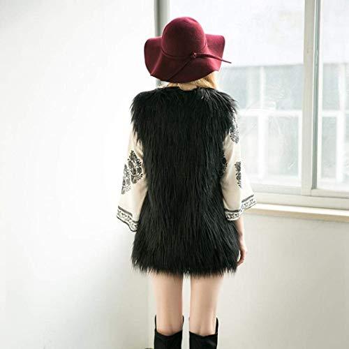C Donne carino senza Capispalla in schwarz maniche pelliccia Casual Moda di Elegante Chic Autunno sintetico poliestere Inverno Gilet Gilet confortevole termico HHBqxf