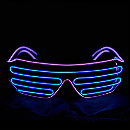 El Wire Neon LED Light Up Shutter Glasses for Rave Costume Party with Battery Controller
