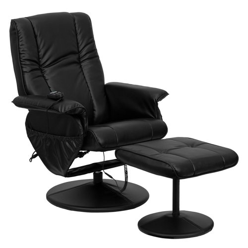 Offex OFX-84120-FF Hallway Massaging Leather Recliner and Ottoman - Black