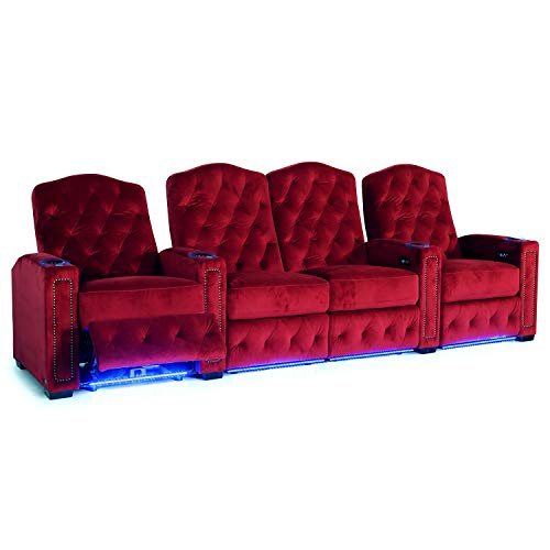 - Octane Regal XL250 Power Recline Sangria Microfiber Home Theater Seating (Set of 4 with Center Loveseat)