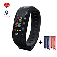 UWear GPS Smart Bracelet Fitness Tracker Heart Rate Monitoring Activity Tracker Black Red Blue Replaceable Strap 6 Sports Mode Monitoring IP68 Waterproof Sports Bracelet