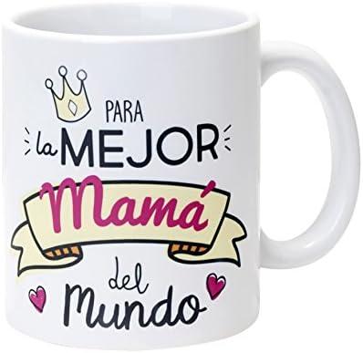 Mopec Taza Cerámica para la Mejor Mamá, Porcelana, Blanco, 8.1x8.1x9.5 cm