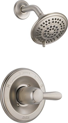 (Delta Faucet Lahara 14 Series Single-Function Shower Trim Kit with 5-Spray Touch-Clean Shower Head, Stainless T14238-SS (Valve Not Included) )