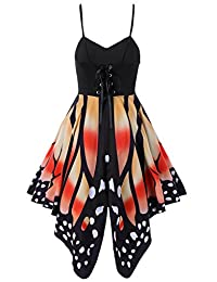 Womens Butterfly Print Lace Up A-Lined Waist Batwing Sleeve Pleated Swing Dress