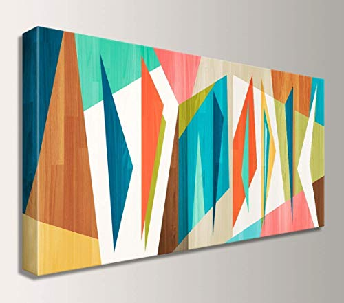 Mid Century Wall Art Decor- Abstract Geometric Canvas -
