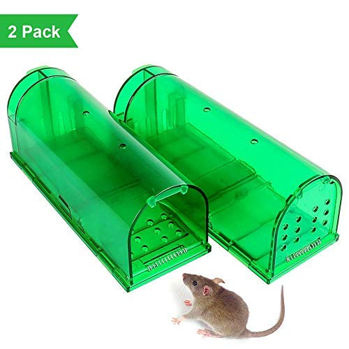 ZONKO Humane Mouse Trap, 2018 Upgraded No Kill Mouse Live Catch and Release, Kids/Pet Safe, Easy to Set, for Indoor/Outdoor, Reusable Cage Box Rodent Traps (2 Pack) ()