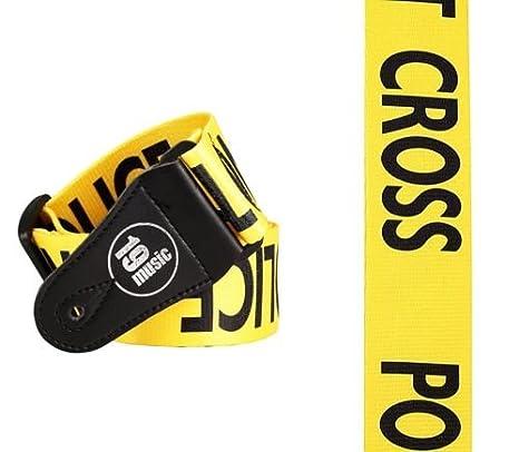 Correa POLICE LINE para guitarra eléctrica o acústica con la frase US NYC LAPD Do Not Cross Crime Scene, amarillo: Amazon.es: Instrumentos musicales