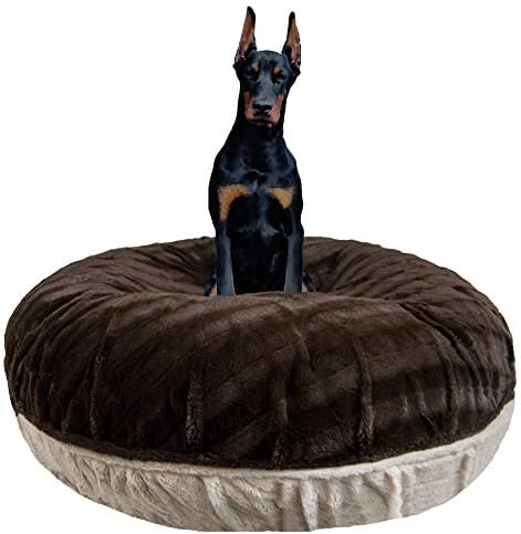 Bessie and Barnie Signature Godiva Brown Natural Beauty Extra Plush Faux Fur Bagel Pet Dog Bed Multiple Sizes