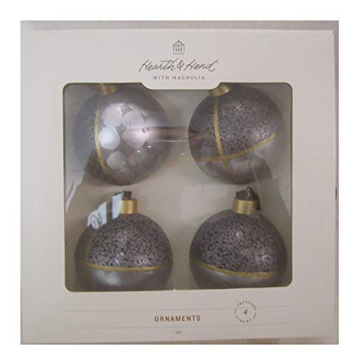 Magnolia 4 Piece Hearth & Hand Glass Ball Christmas Tree Ornaments Blue 2.5