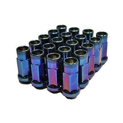 "MUTEKI 32905UN SR48 Series Burned Blue 12mm x 1.25"" Thread Size Open End Lug Nut, (Set of 20): Automotive"