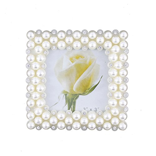 Romantic White Pearl and Crystal Decorated Plastic Family Picture Photo Frame for Home Decoration (3