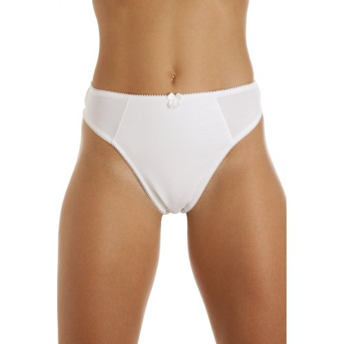 Camille Womens Ladies Micro-Fibre Briefs Control Thong Knickers Underwear White 6/8 (Control Knickers)