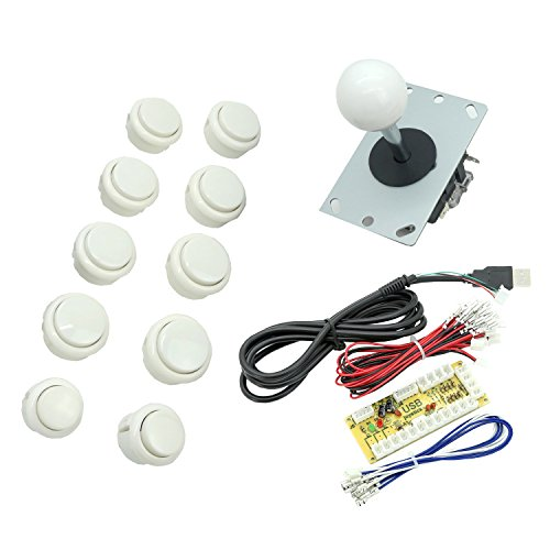 Vga Bundle (WINIT Zero Delay PC Joystick Cabinet DIY Parts Kit for Mame Jamma&Fighting Games 10PCS White buttons+1pcs Zero Delay + 1PCS White Ball 8 Way Joystick USB Encoder Support All Windows Systems)