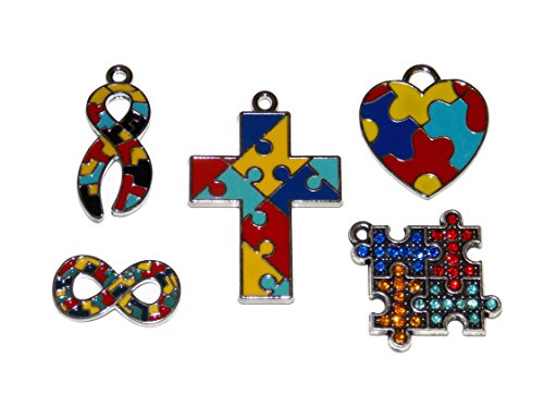 zle Piece Jewelry Making Craft Charms Cross, Ribbon, Heart, Infinity and Puzzle Cube ()