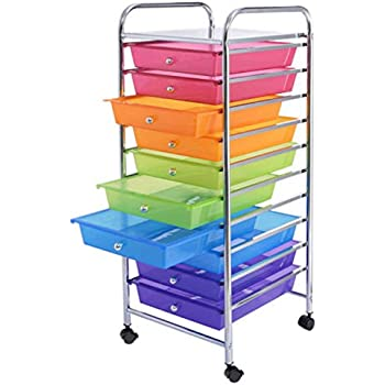 Amazon.com : 10 Drawer Cabinet Organizer Cart File Storage Desk ...