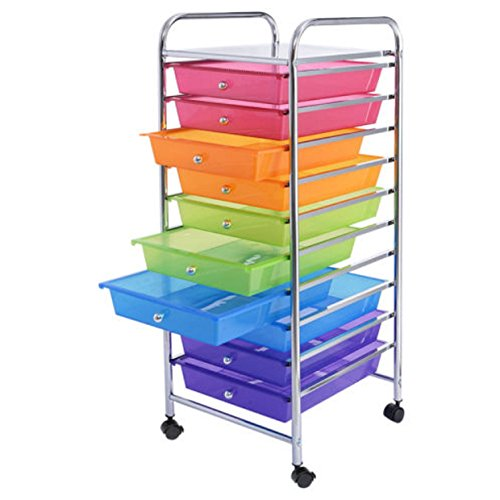 10 Drawer Cabinet Organizer Cart File Storage Desk Rolling Scrapbook Paper Office School Rainbow (Narrow Drawer Lock File Cabinet)
