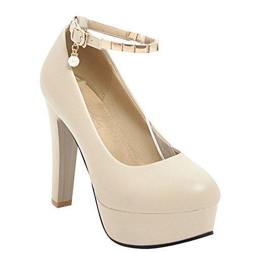 Mee Shoes Women's Charm Platform Buckle High Heel Court Shoes Beige Xw8iipLxDG