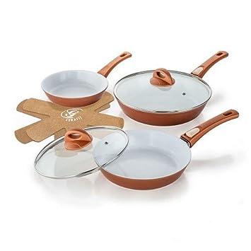 Sartenes Cerafit Fusion de Genius, 7 piezas. Sartenes de cerámica y cobre antiadherentes: Amazon.es: Hogar