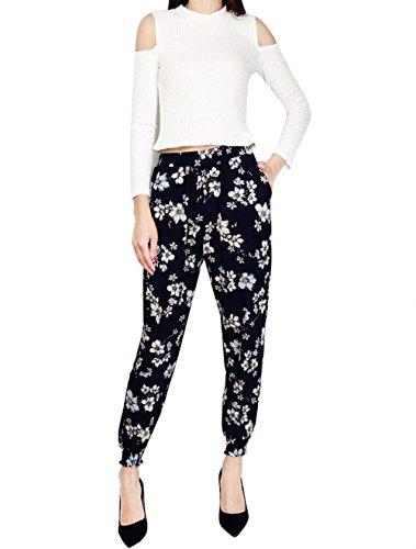 Donna Pantaloni Pluderhose Ragazza Lunghi Hippie Abbigliamento Waist 6 Fashion Chic Libero Tempo Harem Baggy Elastico Eleganti Fiore Pantaloni High Stampa Pantalone Vintage Colour Pantaloni Estivi 1qpwW5Ux