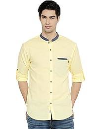 PIVOTO Men Yellow Slim Fit Solid Casual Shirt