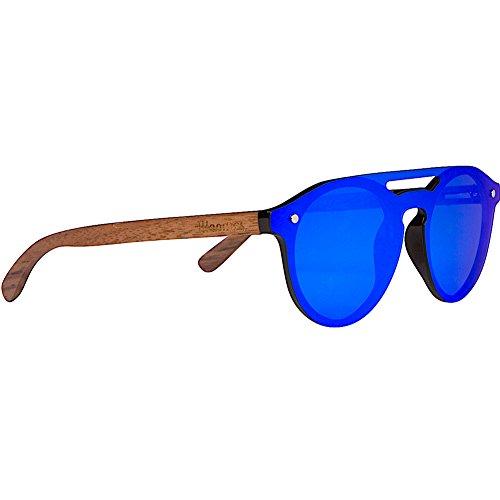 Woodies Walnut Wood Aviator Style Sunglasses with Flat Mirror Polarized Lens -