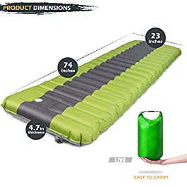 Camping Sleeping Pad, Self Inflating Sleeping Mat with Built-in Pump Inflatable Extra Thickness 4.7 Inch Waterproof for Backpacking Tent Travel Hiking, Comfortable Air Mattress, With Carry Bag