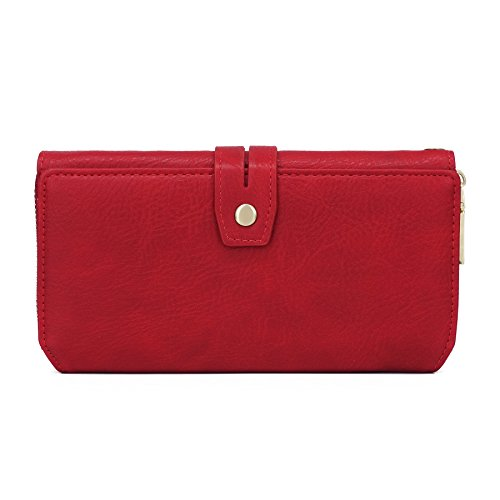 WOZEAH Women's PU Leather RFID Large Capacity Long Wallet Clutch Pures handbags Credit Card Holder Organizer Ladies Purse (red) by WOZEAH (Image #1)
