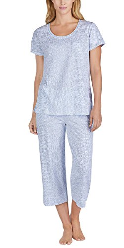 Carole Hochman Women's 2 Piece Capri Pajama Set (Blue Dots, (Dot Capri Set)