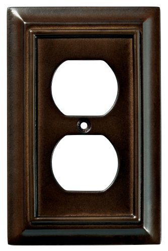 - Brainerd 126340 Wood Architectural Single Duplex Outlet Wall Plate / Switch Plate / Cover, Espresso