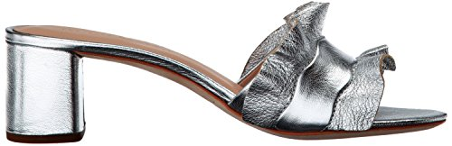 Heeled LOEFFLER Slide RANDALL Sandal Women's Leather Vera Silver Metallic Ruffle dnABqxBr0