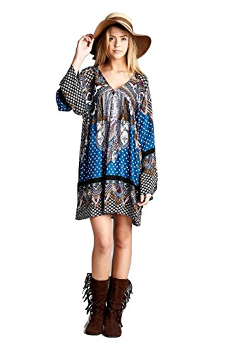 Velzera Multi-Color Paisley with Back Tie Tunic Dress Boho Chic Plus Size (2X, Blue)