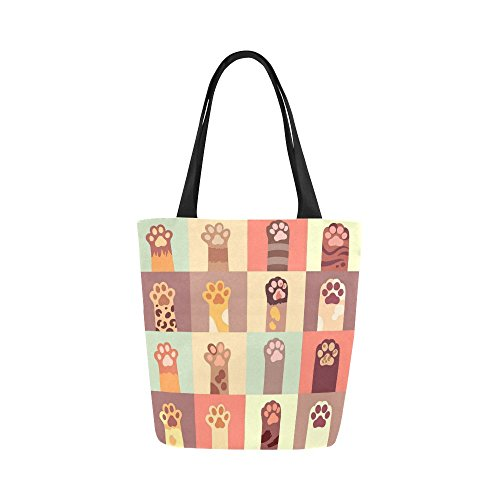 - Kitty Cat Paw Canvas Tote Bag Handbag Purse for Women
