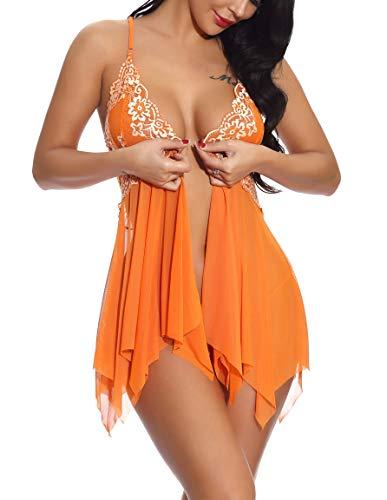 YOZLY Womens Babydoll Sheer Lace Chemise Teddy Lingerie V Neck Mesh Sleepwear S-XXL (Orange-Style1, ()