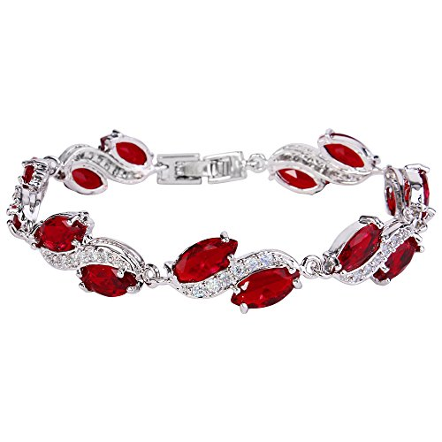 Costume Formal Jewelry (EleQueen Women's Silver-Tone Full Cubic Zirconia Marquise Leaf Roman Tennis Bracelet Ruby Color)