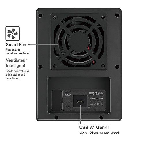 """Mediasonic USB 3.1 4 Bay 3.5"""" SATA Hard Drive Enclosure – USB 3.1 Gen 2 10Gbps Type C / USB-C (HF7-SU31C) by Mediasonic (Image #3)"""