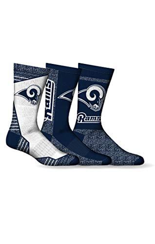 Los Angeles Rams Socks Fits Mens Shoe Sizes 7-12 NFL Football Crew Length 3 Pairs