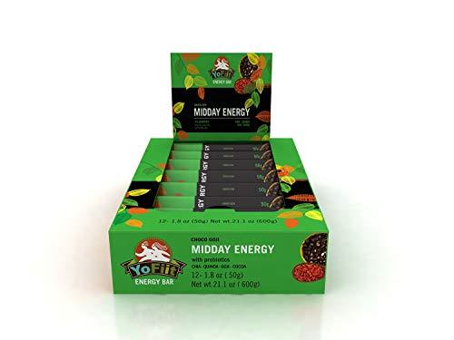 Goji-Chocolate High Fiber Energy Bars. Low Sugar, Gluten Free, Soy Free, Dairy Free (Vegan), Non-GMO. with Probiotics & Prebiotics for Healthy Digestion (12 Pack)