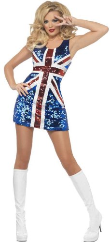 Smiffy's Women's Fever All that Glitters Rule Britannia Costume, Sequined Union Jack Dress, Around the World, Fever, Size 10-12, (All Around The World Halloween Costumes)
