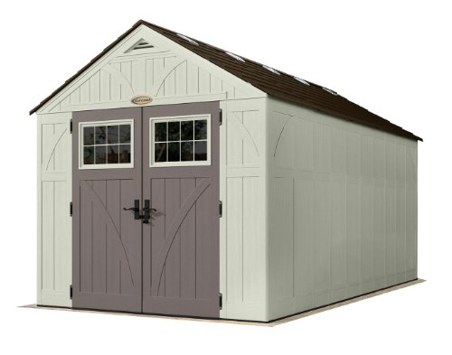 Suncast BMS8160 16 x 8 Tremont Storage Shed-Natural Wood-Like Outdoor Stor, 16 3-1 4 by 8 4-1 2